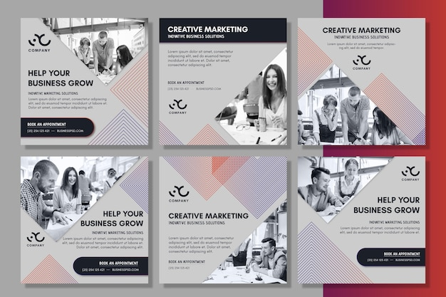 Postagens de marketing de negócios no instagram Vetor grátis