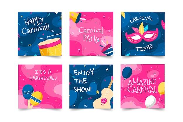 Postagens de mídia social de festa de carnaval de confetes e instrumentos musicais Vetor grátis