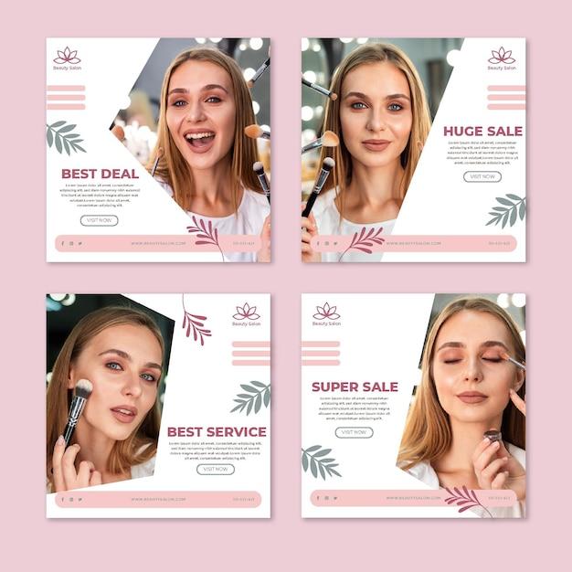 Postagens de mídia social de salão de beleza Vetor Premium