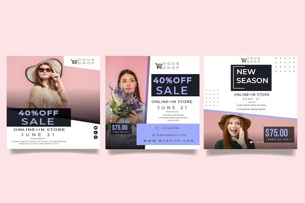 Postagens de modelos de compras online no instagram Vetor grátis