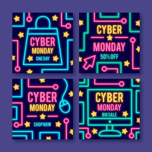 Postagens do instagram da cyber monday Vetor grátis