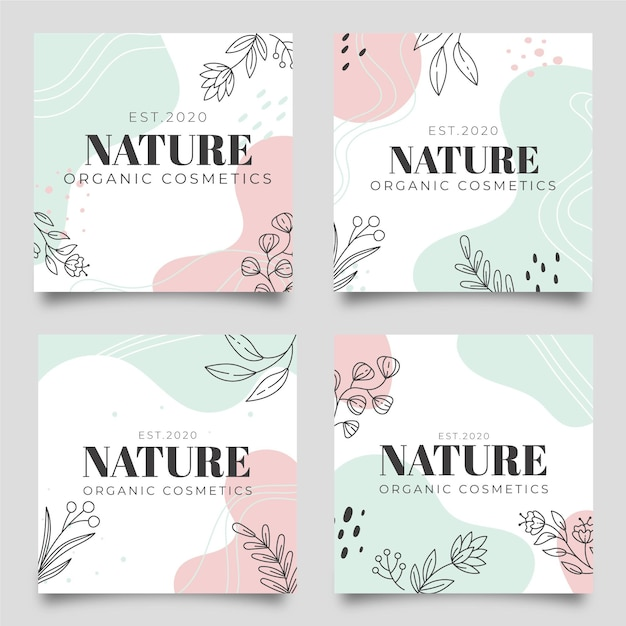 Postagens do instagram da natureza Vetor Premium