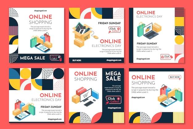 Postagens do instagram de compras online Vetor grátis