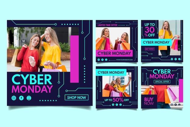 Postagens do instagram de cyber monday Vetor Premium