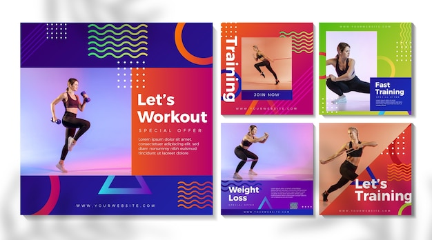 Postagens do instagram de esporte gradiente Vetor Premium