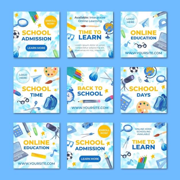 Postagens ilustradas de volta às aulas no instagram Vetor Premium