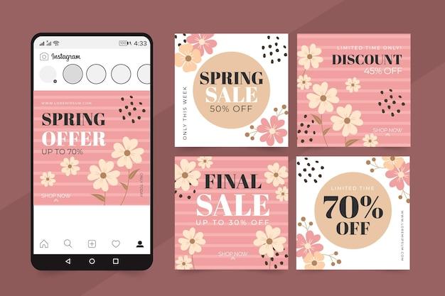 Postagens instagram de promoções de primavera Vetor grátis