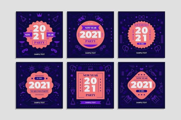 Postagens no instagram da festa de ano novo de 2021 Vetor grátis