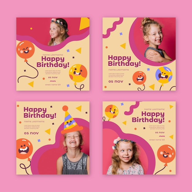 Postagens no instagram de aniversários infantis Vetor Premium