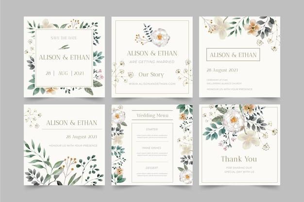 Postagens no instagram de casamento floral Vetor grátis