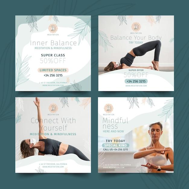 Postagens no instagram de meditação e atenção plena Vetor grátis