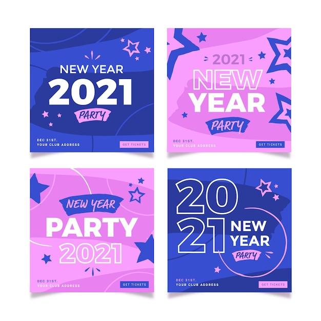 Postagens rosa e azul do instagram para o ano novo de 2021 Vetor grátis