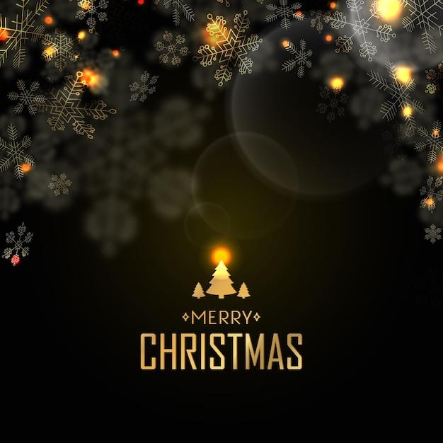 Postal de feliz natal com véspera, luz de velas e muitos flocos de neve criativos em preto Vetor grátis