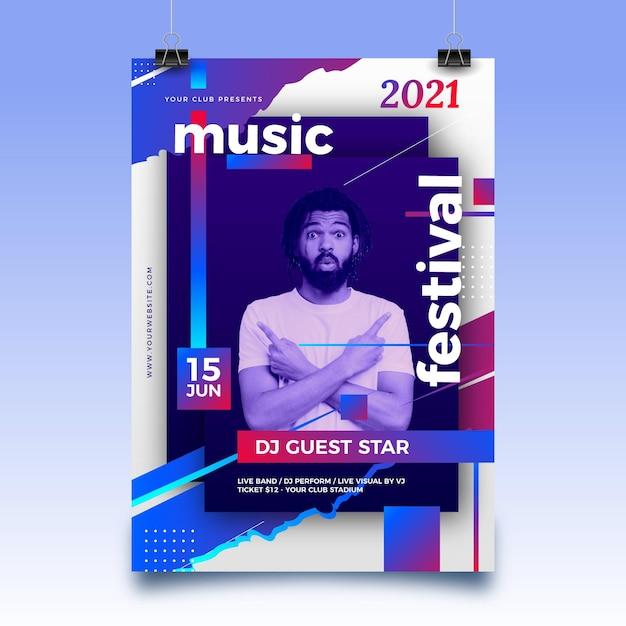 Pôster abstrato de evento esportivo para 2021 com foto Vetor grátis