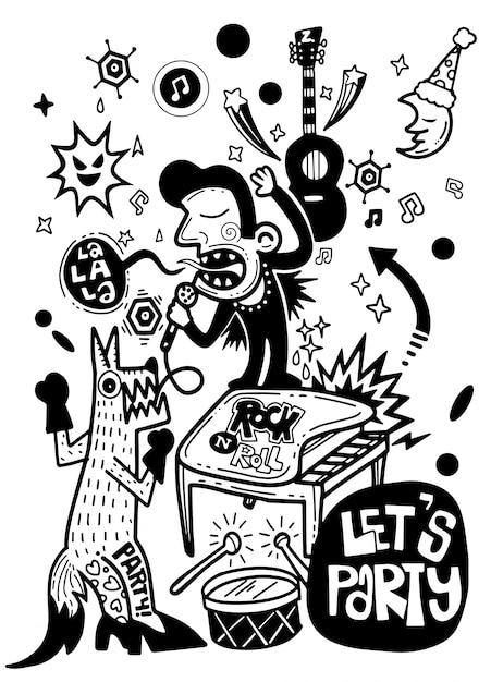 Poster abstrato, homem dos desenhos animados e raposa cantando com um microfone. Vetor Premium