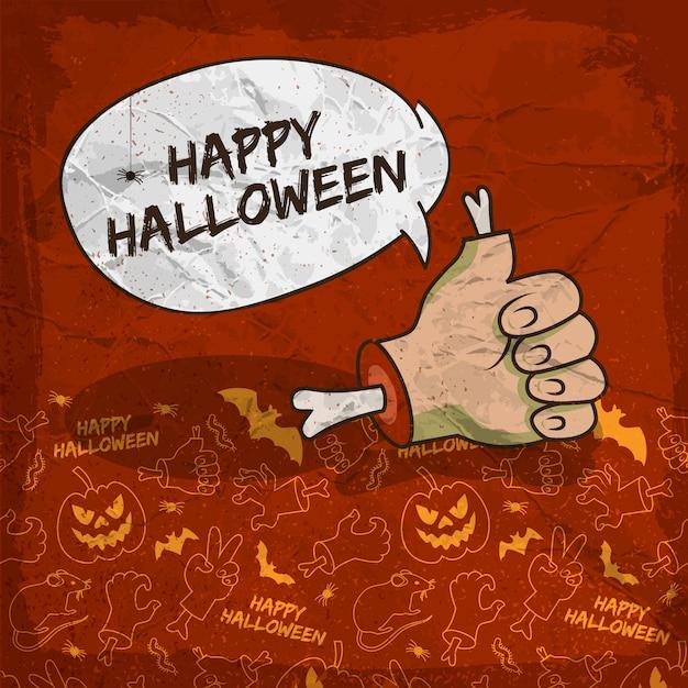 Pôster assustador de halloween com braço zumbi em nuvem de fala e fundo de ícones de linha tradicional Vetor grátis