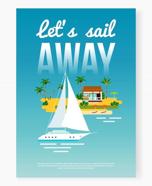 Poster ausente das férias da vela Vetor grátis