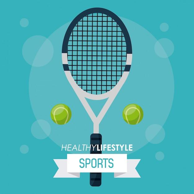 f8f652257 Poster colorido de esportes com raquete de tênis e bolas Vetor Premium