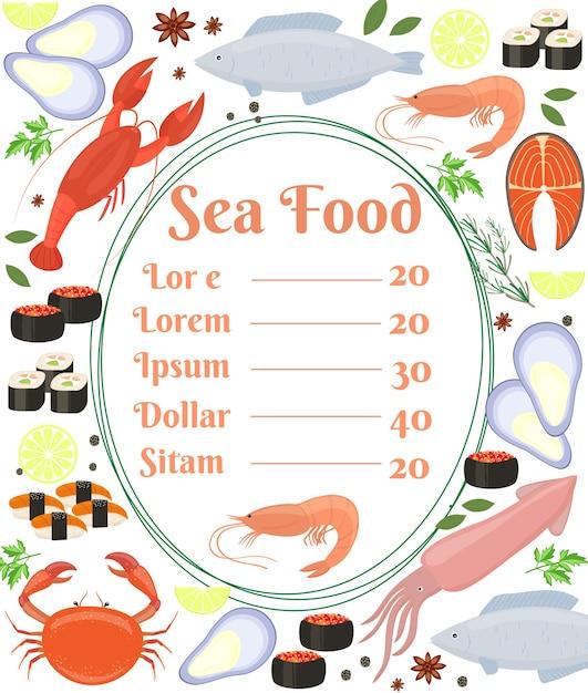 Pôster colorido de vetor de frutos do mar com moldura central com texto e um camarão rodeado por peixes lula lagosta caranguejo sushi camarão camarão mexilhão bife de salmão e ervas Vetor grátis
