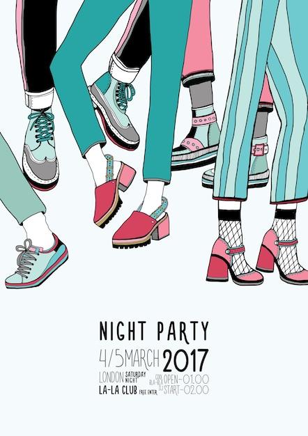 Pôster colorido desenhado à mão de festa noturna com pernas dançando Vetor Premium