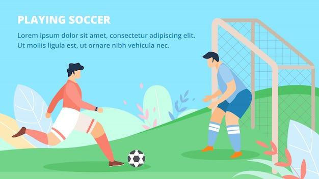 Poster convite jogando futebol Vetor Premium