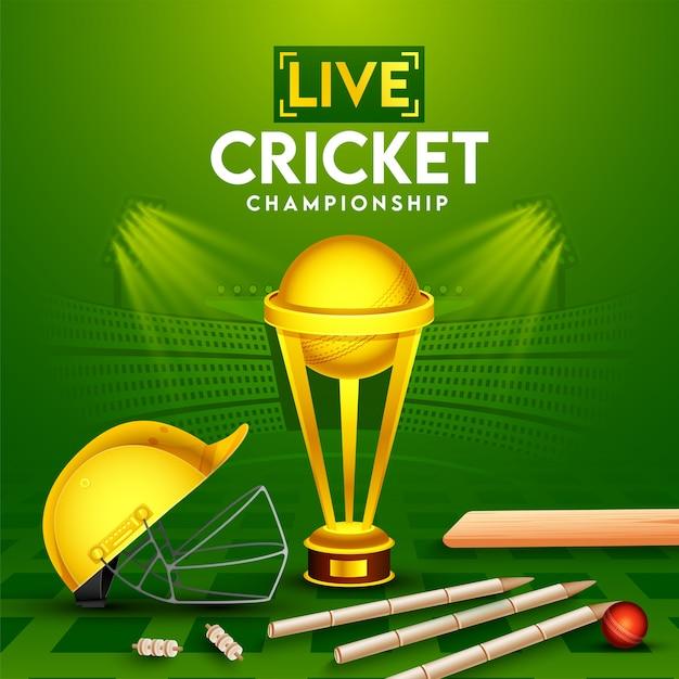 Pôster de campeonato de críquete ao vivo com bola vermelha realista, bastão, wickets, capacete e copa do troféu de ouro sobre fundo verde de vista do estádio. Vetor Premium