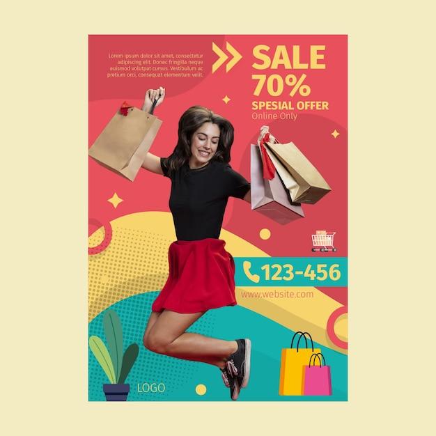 Pôster de compras online Vetor grátis