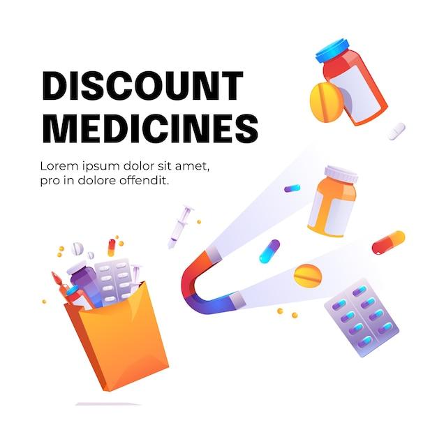 Pôster de desenho animado de medicamentos de desconto com ímã atrai drogas, seringas e pílulas médicas em frascos Vetor grátis