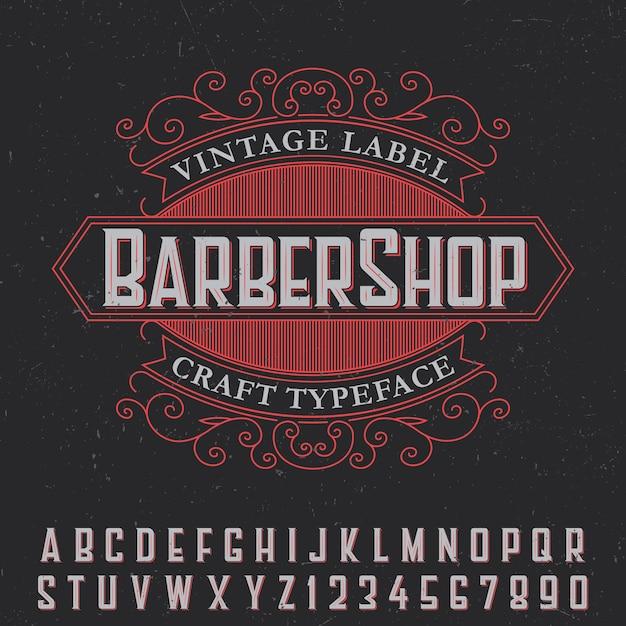 Pôster de etiqueta vintage de barbearia com tipo de letra artesanal em preto Vetor grátis