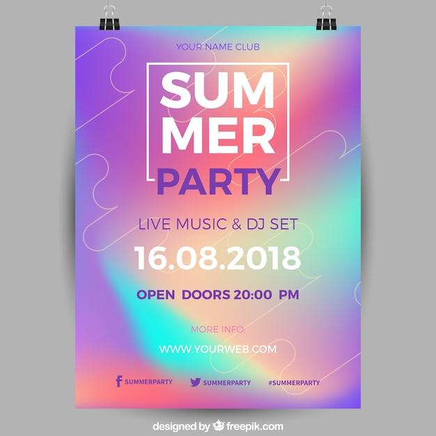 Poster de festa de verão holográfico Vetor grátis