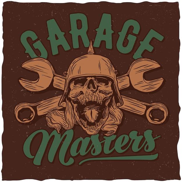 Pôster de garagem com caveira e chaves inglesas Vetor grátis