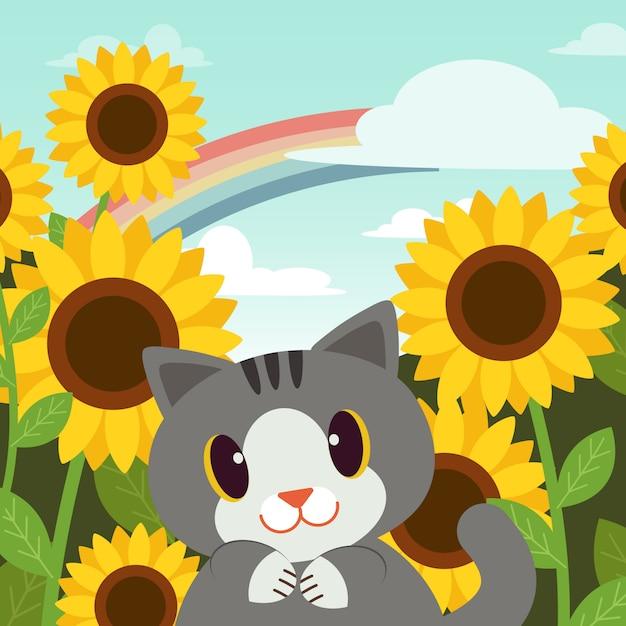 Poster de gato no jardim Vetor Premium