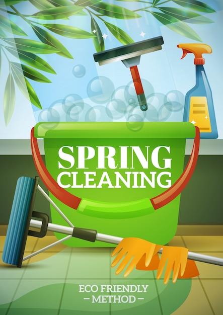 Poster de limpeza de primavera Vetor grátis