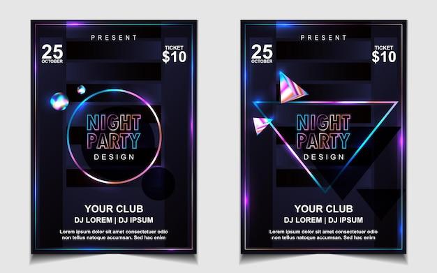Pôster de música dançante noturna colorida Vetor Premium