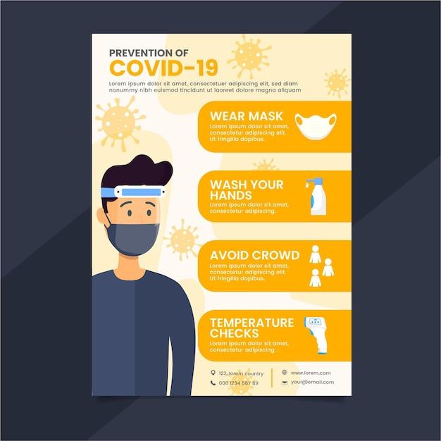 Pôster de prevenção de coronavírus Vetor Premium
