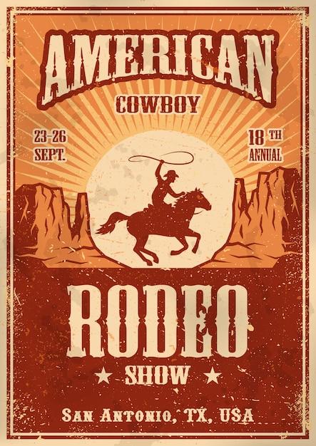 Pôster de rodeio de cowboy americano com tipografia e textura de papel vintage Vetor grátis
