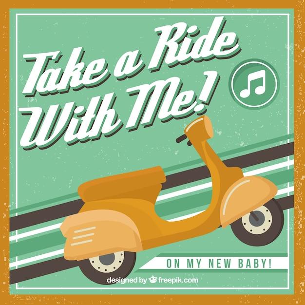 Poster de scooter retro Vetor grátis