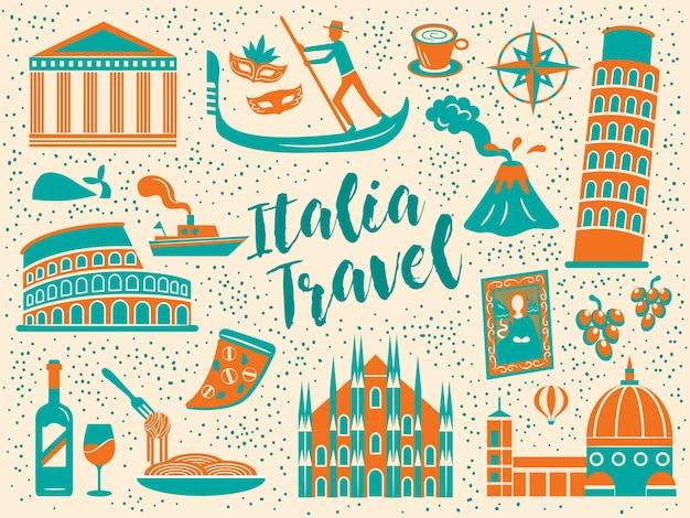 Pôster de viagem do cartoon itália com sinais de atrações famosas e culinária Vetor Premium