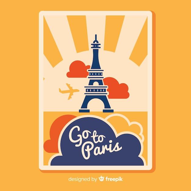 Poster de viagem vintage plana Vetor grátis