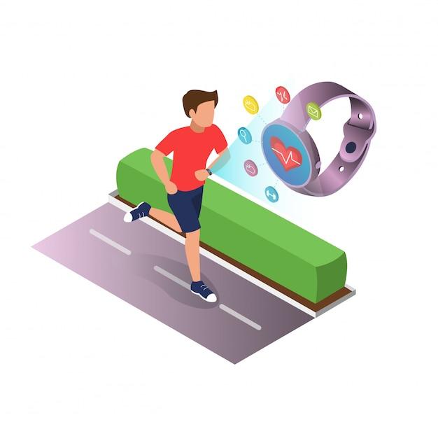 Poster dispositivos desportivos para a saúde cartoon flat. Vetor Premium
