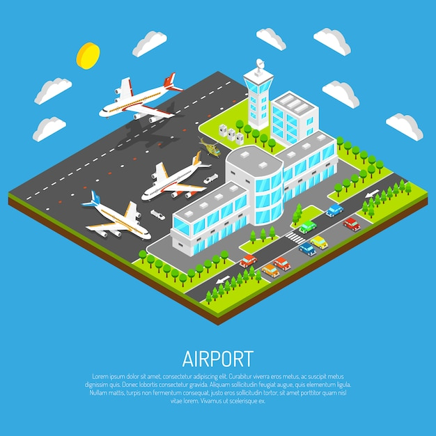 Poster do aeroporto isométrico Vetor grátis
