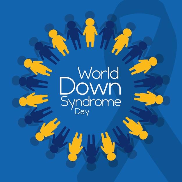 Poster do emblema das pessoas do dia da síndrome do down down Vetor Premium