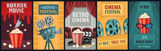 Pôster do filme. modelo de cartazes de filme de terror, câmera de cinema e filmes retrô à noite. Vetor Premium