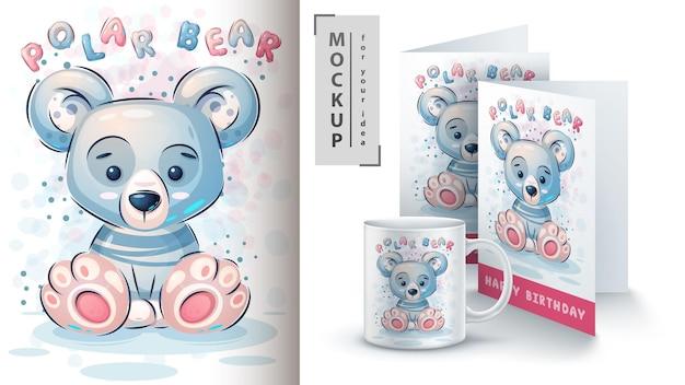 Pôster fofo de urso polar e merchandising Vetor grátis
