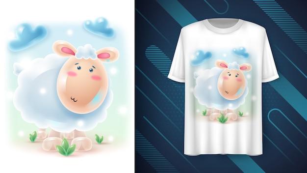 Pôster fofo e realista de ovelhas e merchandising Vetor grátis