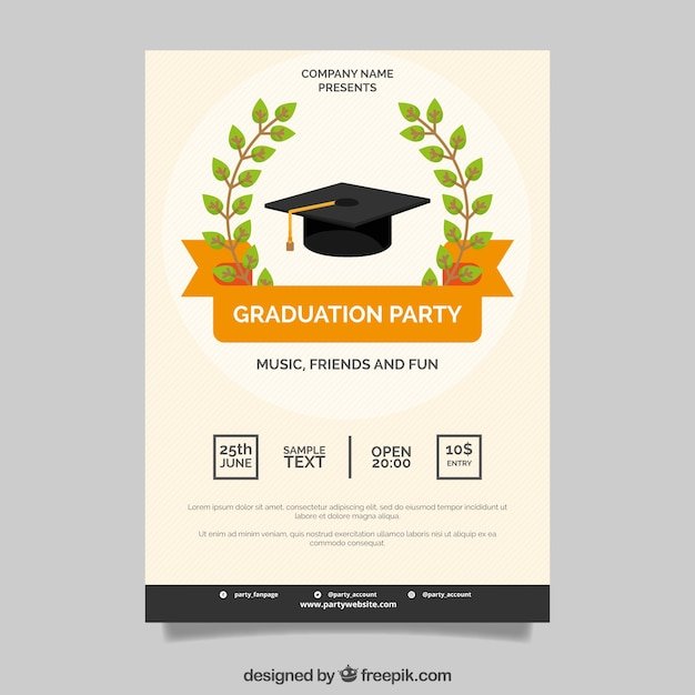 Poster, graduação, partido, laranja, fita Vetor grátis