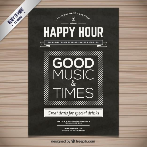 Poster happy hour Vetor grátis