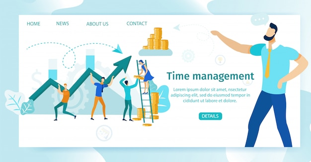 Pôster informativo lettering de gerenciamento de tempo. Vetor Premium