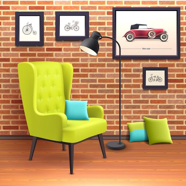 Poster interior realista da cadeira Vetor grátis