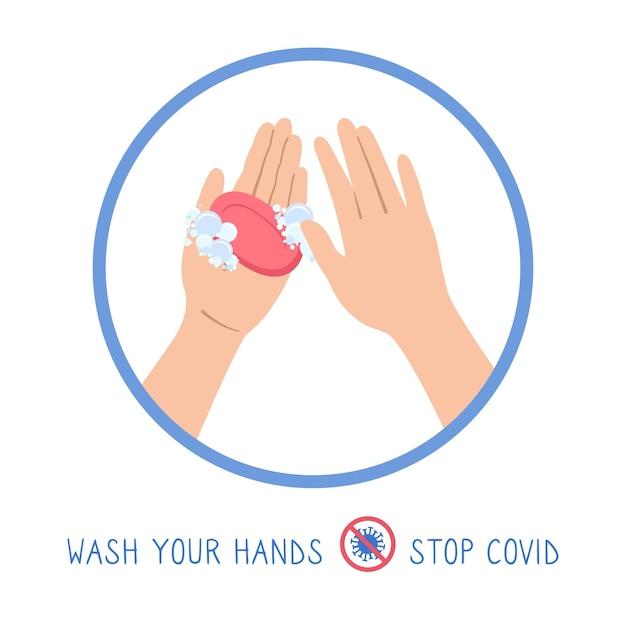 Pôster lavagem com sabonete de desenho animado símbolo de sabão e espuma parar infográfico de coronavírus desinfecção plana desinfetante higienizador lavar coleção de antisséptico de mãos Vetor Premium